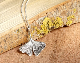 Sterling Silver Ginkgo Leaf Pendant, gift for her, bohemian, japanese symbol, original necklace, wedding gift, bridesmaid gift, mother's day