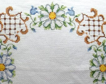Embroidered Table Topper, Daisies & Bluebells, Cross Stitch on White Aida, Floral Motif, 1970s Home Decor, Handicraft, Scandinavian Textile