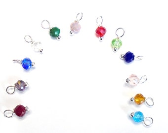 12PC. Birthstone Color Mix Available in Three Finishes 4mm AB Austrian Crystal Bead Charm/Delicate handmade Crystal Bead Charm/