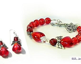 Matching Jewelry, Matching Jewelry, Red Angel Bracelet and Angel Earrings, Glass Beaded Angel Jewelry, Red Angel Car Charm  B2013-02-E01
