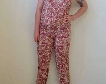 Maroon and ivory paisley/wallpaper print jumpsuit with open back- S/M