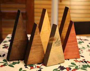 Rustic Wood Tree / Mountain Set, Tabletop Tree Set, Natural Wooden Tree Triangles, Simple Modern Christmas Decorations, Modern Rustic, Boho