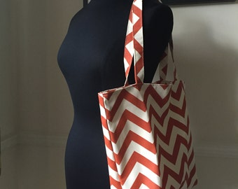 rust chevron tote bag // pul lined waterproof interior // market tote bag // READY TO SHIP