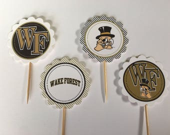 Wake Forest University - 12 cupcake toppers