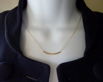 CURVE - Gold Filled Curve Bar Tube Necklace, Gold Filled Chain, Simple Modern Layering Necklace, Minimalist Jewelry