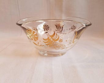 Vintage Georges Briard Glass Bowl / Mid Century Nut Bowl / Persian Garden / Gold Flowers