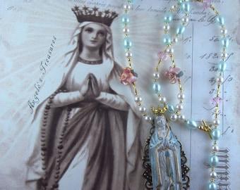 Catholic Virgin Mary OL Lourdes Religious Handmade Necklace, Collar Catolico Virgen Maria