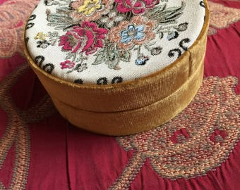 Country French Floral Tapestry Velvet Leather Trinket Jewelry box
