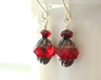 Red and Silver Earrings, Red Czech Turbine Glass Earrings, Czech Glass Earrings, Bohemian Style, Boho Chic