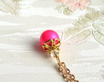 Hot Pink Necklace, Swarovski Pearl Bridesmaid Gift Necklace, Hot Pink Bridesmaid Necklace, Weddings Jewelry Necklace, Fuchsia Wedding Favors