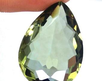 31.20 Ct Certified Natural Pear Cut Transparent Brazilian Green Amethyst Loose Gemstone AO1618
