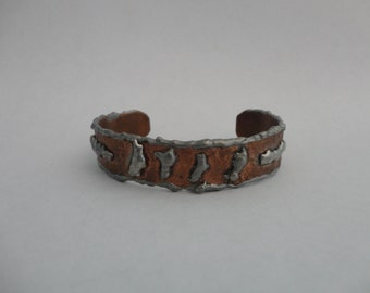 VINTAGE rustic COPPER and silver CUFF