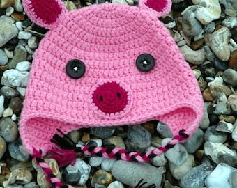 Pig / Piglet Crochet Hat with Ear Flaps! - Child / Kids Size - Machine Washable