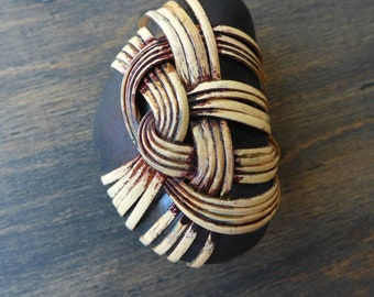 Zen stone - cane reed wrapped river rock with Japanese basketry knot- knick knack, paperweight