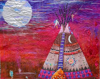 MarveLes COLLAGE PATTERN Blackfoot Moon Tipi Native American Indian Montana Prairie