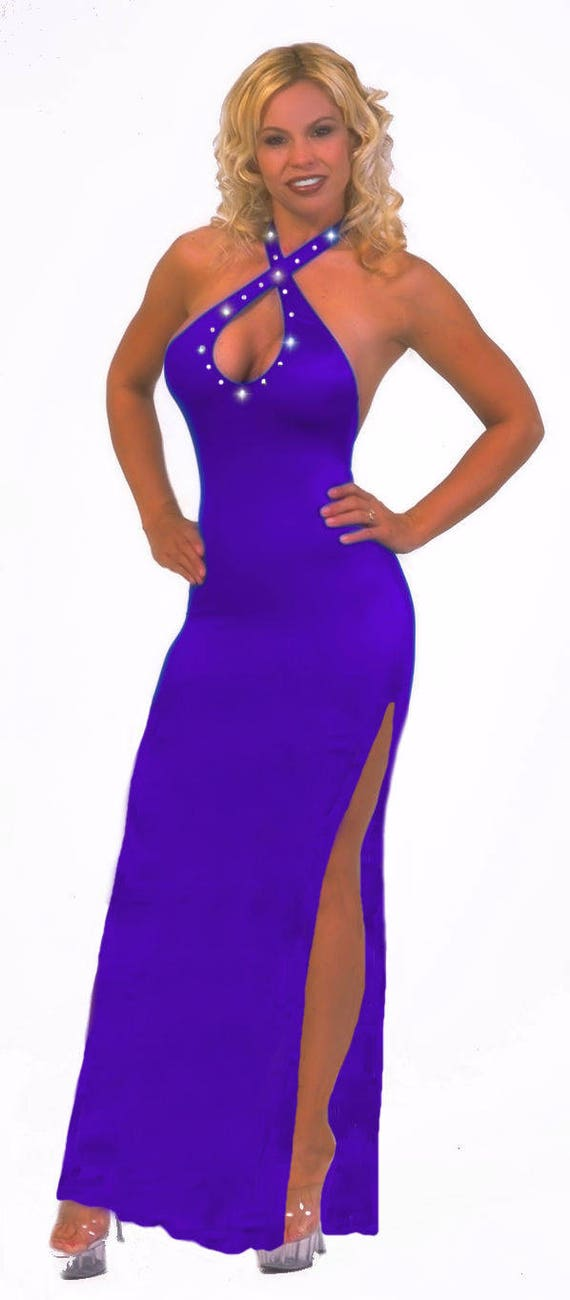 Stripper Gown, Exoticwear, Thong included, High Slit, Purple, Red, or Black.  Sexy Form fitting Full Length Gown.
