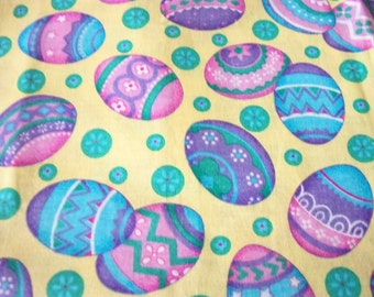 Colorful Easter Egg Fabric Yellow Background Fat Quarter New BTFQ