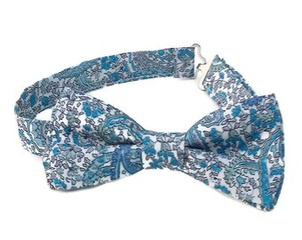 Blue paisley bow tie, boys blue bow tie, blue bow tie for toddler, baby boy paisley bow tie, kids blue bow tie, ring bearer Liberty bow tie