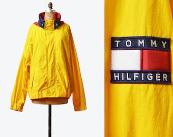 Vintage 90s Tommy Hilfiger Windbreaker Jacket 90s Streetwear Nylon Shell Jacket Yellow Color Block Hipster Retro Sports Large