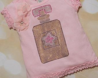 Girls Shirt Pink T Shirt with Rhinestone Perfume Bottle Toddler Pink T Shirt Short Sleeve Cotton Ruffle  Tee