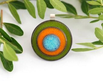 "Pendant made of ceramic and Silver 925 - collection ""confetti"" green orange blue 2"