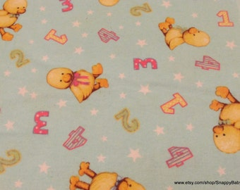 Flannel Fabric - Chicks and Numbers - By the yard - 100% Cotton Flannel