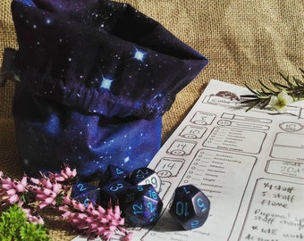 Space Dice Bag | Drawstring Bag | DnD | Gaming | Tabletop | Double-sided and free standing.