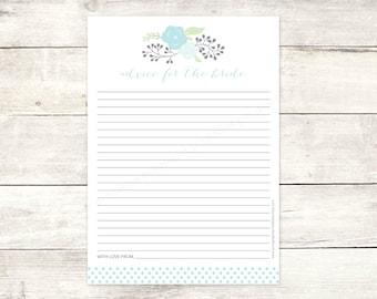 bridal shower advice card printable DIY blue bouquet polka dots wedding shower bridal shower digital games - INSTANT DOWNLOAD