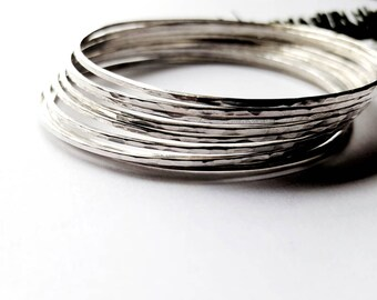 Set of 9 Solid Sterling Silver Stacking Bracelet, Hammered Skinny Bangles For Women - Prisms