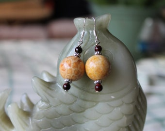 Round Coral Fossil Earrings, sterling silver hook
