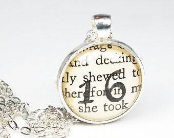 Number 16 Necklace- Personalized Jewelry on Vintage Paper, 16th Birthday Gift, Silver Custom Necklace, 16 Pendant Necklace, Book Lover Gift