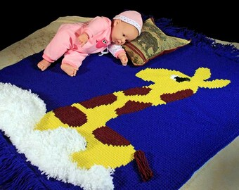 Baby Blanket, Baby Throw,  Crochet, Stroller Blanket, Crib Blanket, Giraffe, Kids TV Blanket, Faux Fur Lined, Winter Blanket, Baby Afghan