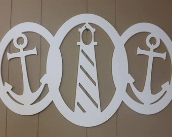 PVC Lighthouse & Anchor Interlocked Frame Wall Hanging