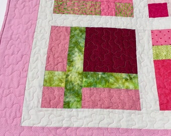 Throw Quilt  Pink and Lime Green, Pink Lap Quilt Blanket, Pink Lap Quilt, Quilted Couch Throw, Baby Girl's Quilt, Quiltsy Handmade