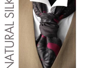 Men's Cravat Ascot Mens Tie Printed Silk Day Cravat Ascot 018 Mens Tie