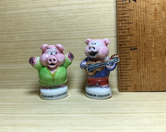 Madame & Monsieur PIG Serenade Pigs Piglet Couple Husband Wife Romance  - French Feve Feves Figurines Doll House Miniature Y41