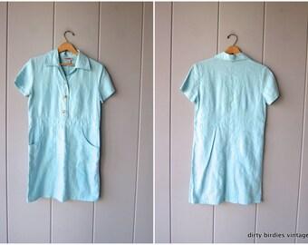 Blue Linen Dress 90s Minimal Mini Dress with Pockets Short Linen Dress Button Up Classic 1990s Modern Shirt Dress Preppy Womens 4 XS Small