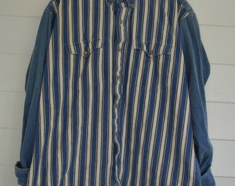 "Vintage Denim and Striped Button up ""RUDDOCK BROS."" Shirt"