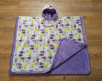 Hooded Car Seat Poncho - Jewel Owl