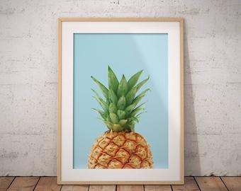 Pineapple Print, Pineapple Poster, Blue Wall Art, Tropical Poster, Tropics Print, Pine print, Bright, Digital Download, Printable Poster