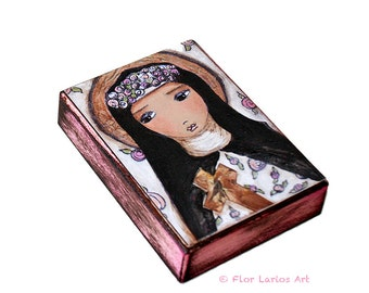 Saint Rose - ACEO giclée monté sur bois (2,5 x 3,5 pouces) Folk Art par FLOR LARIOS