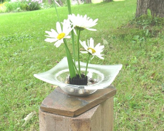 Glass Ikebana vase on slate base, Fused Glass Ikebana, Fresh Flowers, Artificial Flowers, Vases, Fused Glass Vase, Fused Glass, V206