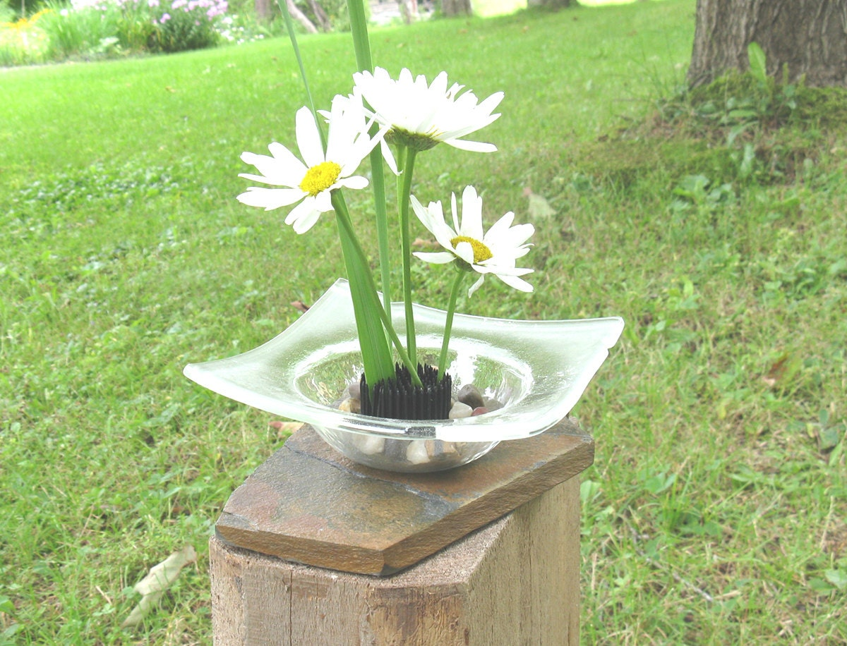 Glass ikebana vase on slate base fused glass ikebana fresh zoom floridaeventfo Images