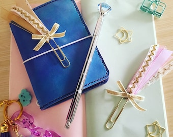 Rosette Ribbon paperclips Collection/paperclips/planner clips/planner decoration