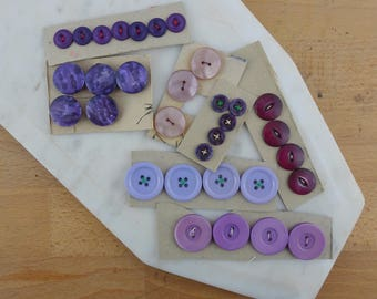 Lot of Vintage Purple  Buttons, Collection of Buttons, Loose Buttons, Plastic Buttons, Shades of Purple