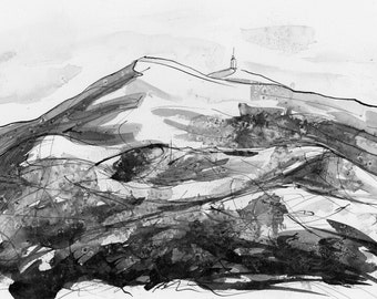 DRAWING india ink on paper, 28.5 x 21 cm, MONT VENTOUX Provence by Lionel Le jeune, unique artwork