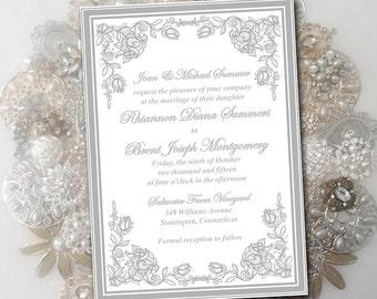 "Printable Wedding Invitation Template - Silver ""Exquisite Roses"" DIY Wedding Template Printable Invitation Instant Download Invitation"