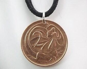 Lizard Coin Necklace, Australian 2 Cents, Coin Pendant, Leather Cord, Men's Necklace, Women's Necklace, 1968