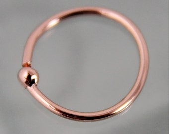 Nose Ring Hoop 14k SOLID Rose Gold 10mm Cartilidege Septum
