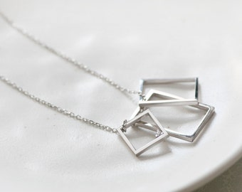 Square Necklace 925 Sterling Silver Geometric Long Necklace Pendant